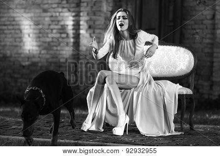 Charming Girl And Dog
