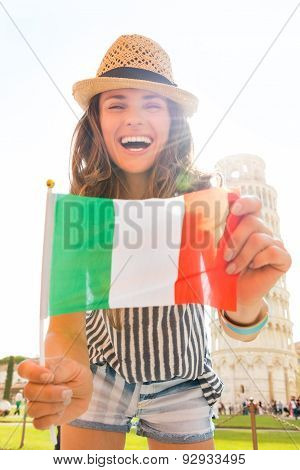 Laughing Woman Tourist Holding Italian Flag In Pisa