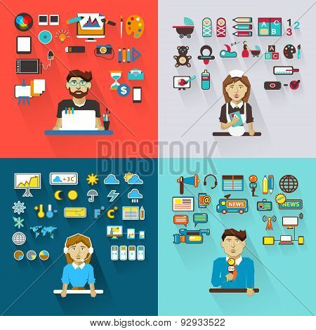 Set Of Professions. Graphic Designer, Babysitter, Meteorologist,