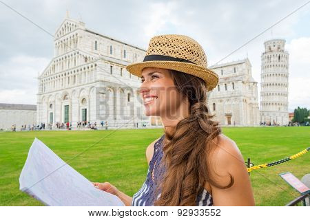 Happy Female Tourist In Profile Holding Map, Piazza Dei Miracoli