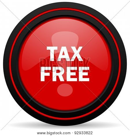 tax free red glossy web icon