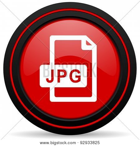 jpg file red glossy web icon