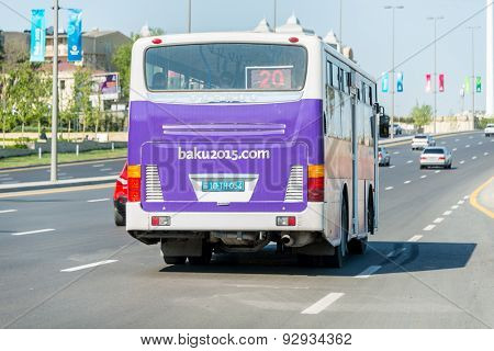 BAKU - MAY 10, 2015: Poster at back of the bus on May 10 in BAKU, Azerbaijan. Baku Azerbaijan will host the first European Games