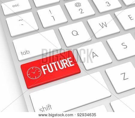 Computer Keyboard With Future Button. 3D Rendering