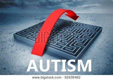 autism against big maze with arrow under cloudy sky