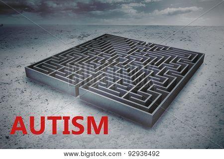 autism against big maze under cloudy sky