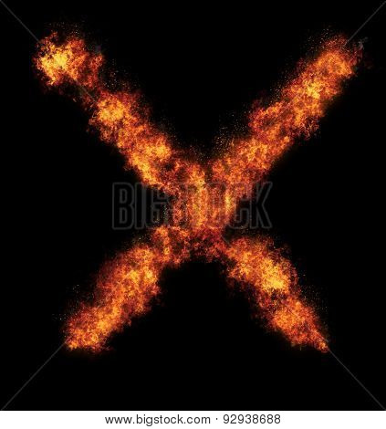 Burning fire cross over black background