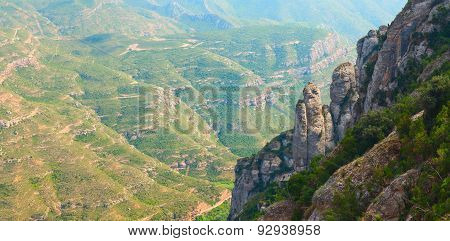 Montserrat. Multi-peaked mountain located near the city of Barcelona, in Catalonia, Spain.