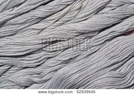 Gray Embroidery Floss As Background Texture
