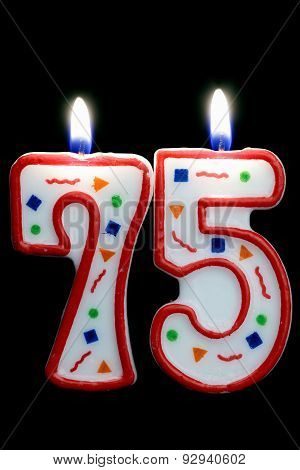 number seventy five birthday candle