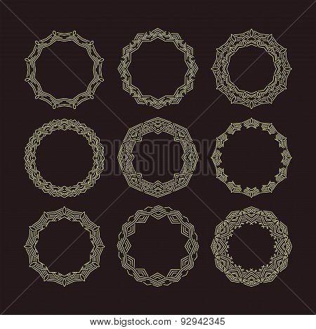 Vector geometric frame in mono line style. Monogram design element. Vector illustration