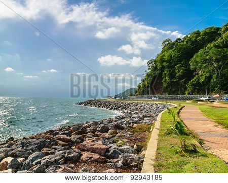Walkway Along The Coastal Road In Chantaburi Province, Thailand