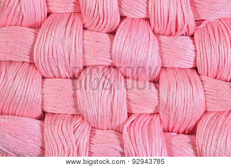 Pink Twisted Skeins Of Floss As Background Texture