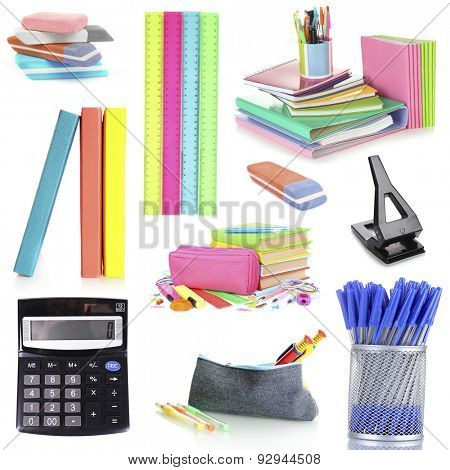 Bright school supplies, isolated on white