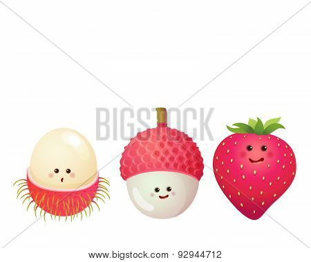 Cute Fruits-strawberry, Lychee, Litchi, Rambutan