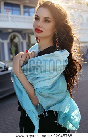 Sensual Woman  Wearing Elegant Black Dress And Silk Scarf