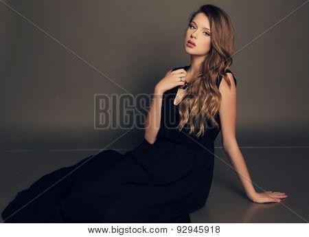 Beautiful Young Girl In Elegant Black Dress With Bijou
