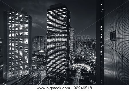 Tokyo City - Shinjuku district at night - future city