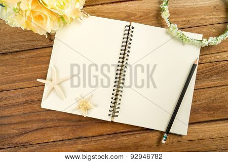 Planning Paper With Pen, Rose Headband, Tiara, Bouquet, Starfish