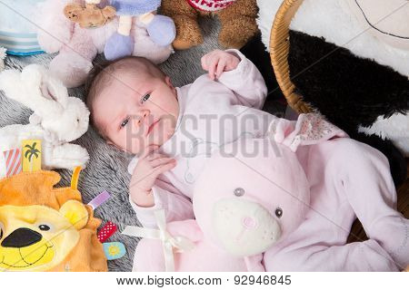 Close Up Of New Born Baby With Cute Expression