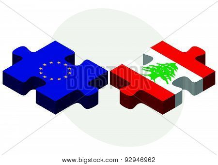 European Union And Lebanon Flags In Puzzle