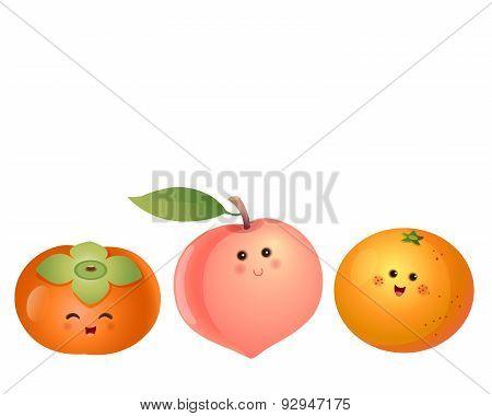 Cute Fruits-persimmon, Peach, Orange