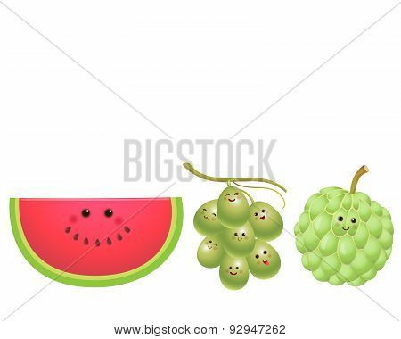 Cute Fruits-watermelon, Grape, Custard Apple