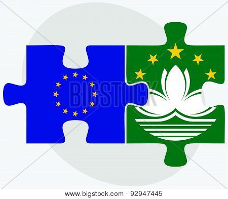 European Union And Macau Flags In Puzzle