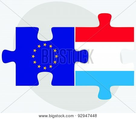 European Union And Luxembourg Flags In Puzzle