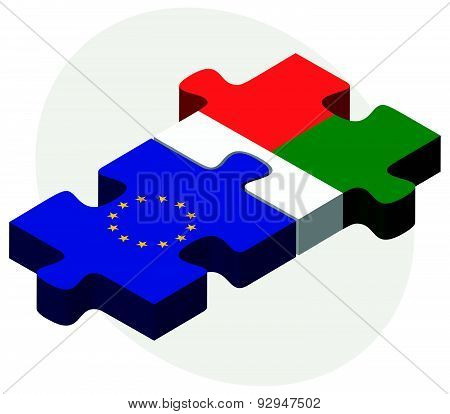European Union And Madagascar Flags In Puzzle