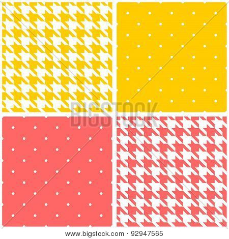 Pink, yellow and white tile vector houndstooth and polka dots background set