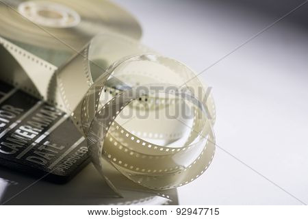 Closeup Of A Spool Of Film Into A Movie And Slapstick