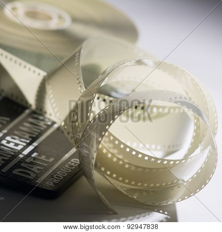 Closeup Of A Spool Of Film Into A Movie Clapper And For Film Production