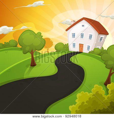 Summer House Inside Green Fields In Sunrise