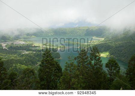 View Of Lagoa Verde And Lagoa Azul, Sao Miguel, Azores