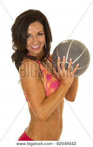 Woman In Pink Sports Outfit Medicine Ball In Hands