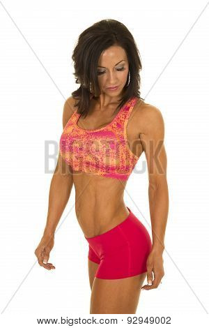 Woman In Pink Sports Outfit Side Stand