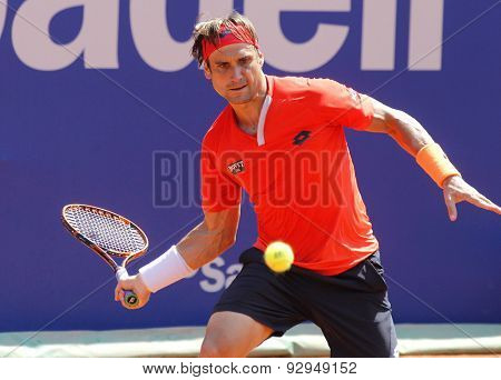 BARCELONA - APRIL, 23: Spanish tennis player David Ferrer in action during a match of Barcelona tennis tournament Conde de Godo on April 23 2015 in Barcelona