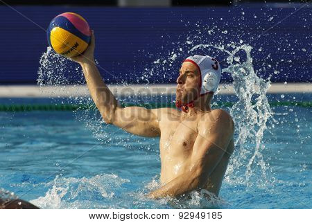 BARCELONA - MAY, 29: Miho Boskovic of Vaterpolski klub Jug Dubrovnik during a LEN Champions League Final Six match against VK Primoje at the Picornell Swimming pool on May 29 2015 in Barcelona Spain