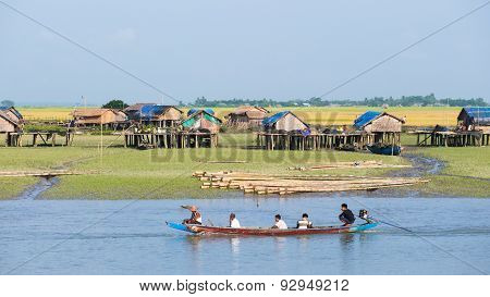 Village Along The Kaladan River In Myanmar