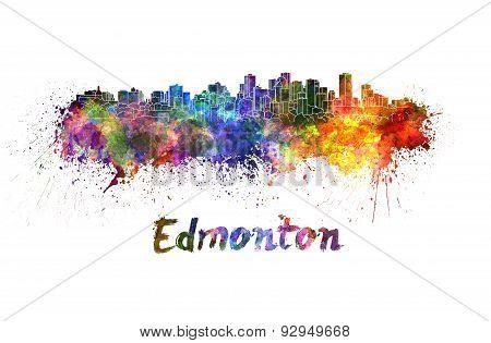 Edmonton Skyline In Watercolor