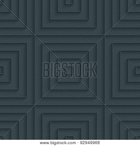 Squares dark perforated paper with outline extrude effect. 3d seamless background. See others in My Perforated Paper Sets.