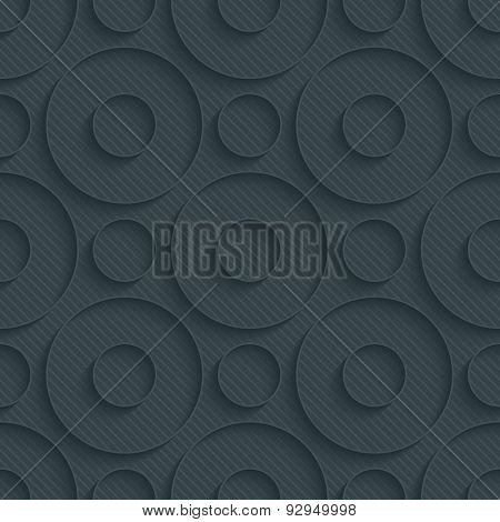 Circles dark perforated paper with outline extrude effect. 3d seamless background. See others in My Perforated Paper Sets.