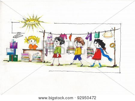 drawing of children donating their colourful clothes for charity