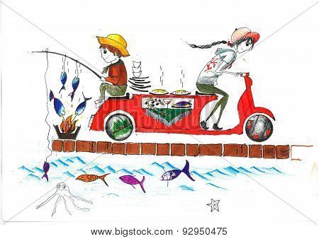 fast and fresh deliver boy fishing and grilling and delivering hot food