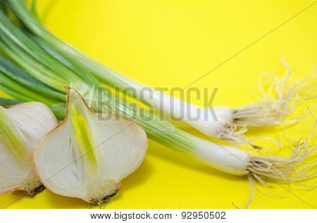 Leek And Onions On Yellow Background