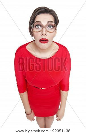 Surprised Plus Size Woman In Glasses. Top View