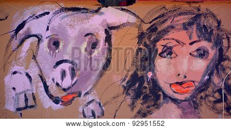Street art woman and pig
