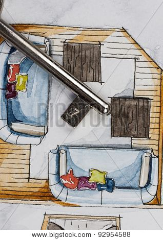 Sketch painting of floor plan partial fragment with metal safe key