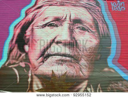Street art amerindian woman
